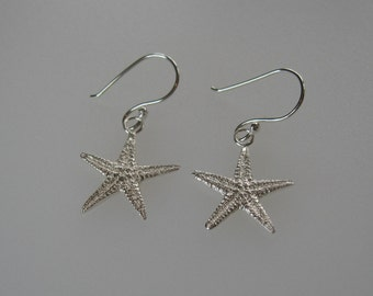 sterling silver sand cast starfish earrings