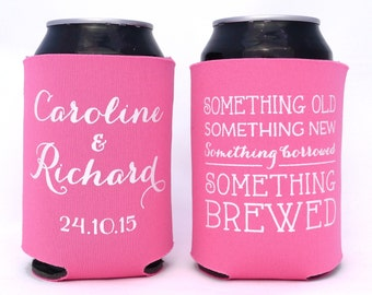 Something Old, Something New, Something Borrowed, Something Brewed // Personalized Wedding Can Coolers