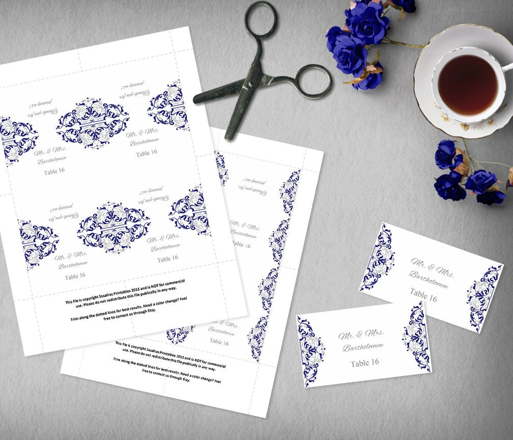 Blue and Silver Food Label Template, Printable Name Card Template ...