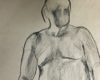 "Charcoal Figure Drawing | Male Nude Life Study | Study 16 x 20 | Seated Nude | ""No Face 02"""