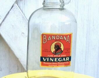 Vintage Antique Estate Bandana Vinegar With Original Label Jug Bottle Aunt Jemima Black Americana Pure Apple Cider Vinegar