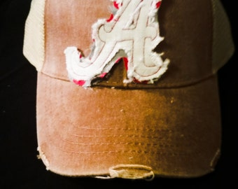 Football  old school raggy A layered with red polkadots  football trucker hat in vintage linen color