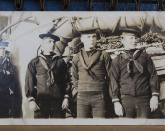 WWI RPPC Real Photo Postcard Three Sailors Rigging in Behind AZO 1904-1918