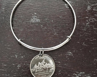 New Jersey state quarter expandable wire bangle bracelet