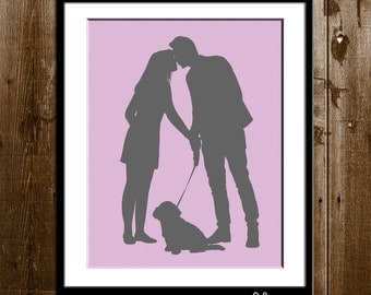 Custom Couple and Pets Silhouette Portrait, Custom Gift for Him, Father's Day Gift Silhouette Art Print, Dog Dad Gift from your Photo