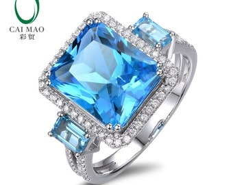 14k White Gold 7.81ct Natural Topaz 0.40ct H SI1 Diamonds Engagement Hot Sales Ring Free Shipping