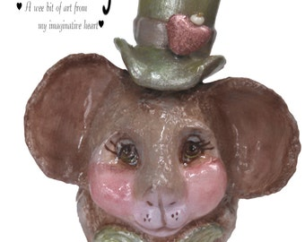 Cheery Irish mouse figurine sculpted real eggshell OOAK sweet brown mouse green hat pink heart rose bow tie