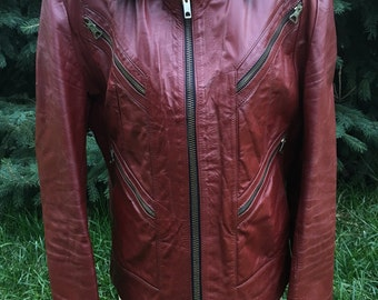 ON SALE! Vintage Chess King Red Leather Motorcycle Jacket size 44
