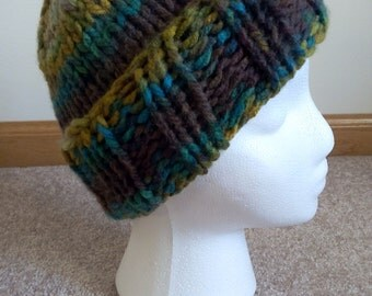 Ribbed Brim Knit Beanie- Blue-Yellow-Brown Stripes