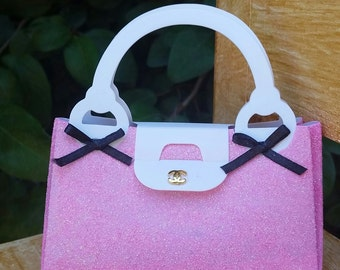 12-CC inspired favor purse box, Chanel inspired favor purse box, pink chanel favor purse box, pink chanel favor box