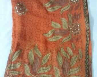 Designer orange Indian sari