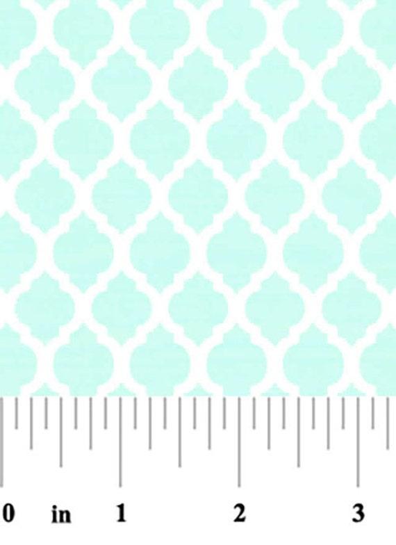 Aqua Mini Quatrefoil Fabric, Fabric Finders,100 percent cotton, Aqua Quatrefoil