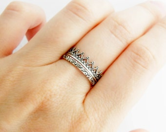 Silver double ring, Crown ring, silver stackable rings, set of 2 rings, stack rings