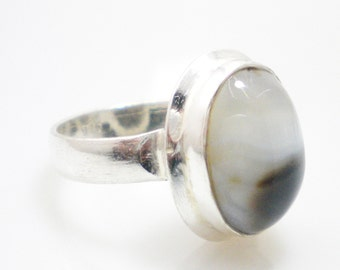 Natural Blue lace stone Silver plated Ring,Oval Shape Ring, partywear ring, gemstone ring