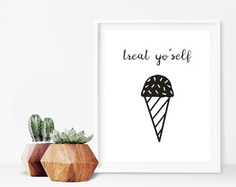 Parks and Rec Treat Yo'self Ice Cream Cone Digital Print