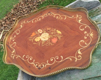 Authentic Vintage Marquetry Inlay Serving Tray Plate Platter Italian Wood Brass