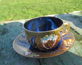 Moser Cobalt Blue Glass Gold Gilded 4 Cups and Saucers Porcelain Flowers