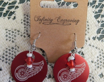 Detroit Red Wing Earrings FREE SHIPPING