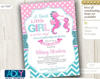 Pink and Turquoise Seahorse girl baby shower invitation, glitter turquoise,pink polka, teal chevron.Little Girl is on her way - oz117bPT