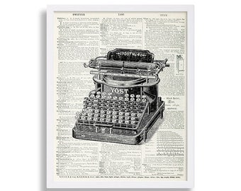 Dictionary Art Print Old Typewriter Print Antique Looking Wall Art Hipster Decor Book Page Industrial Art Prints Living Room Decor Vintage
