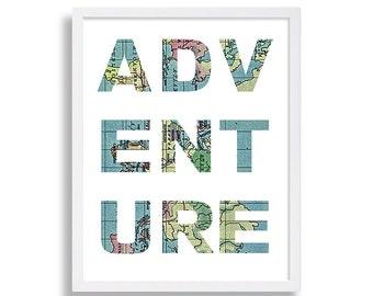 Adventure Map Print Typography Wall Decor Living Room Art Modern Wall Art Antique Map Adventure Print Gift Travel Art Blue Print Modern Art