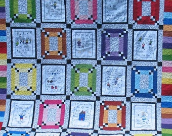 Sunday School Singers quilt bible songs children singing church music lovers twin size full size double quiltsy handmade