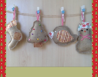 Hessian hand made xmas tree decorations set of 4 : robin, tree, stocking, snowman -Little kids treasures