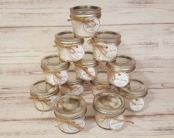 60 ~ 4oz Mason Jar Candle Favors! Custom Labels available! Great For wedding or shower favors!!