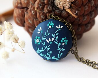 Navy Blue Necklace Cobalt Blue Necklace ocean blue necklace dark blue necklace royal blue flower necklace blue necklace bridesmaid necklace