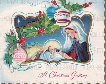 Mother Mary With Baby Jesus Christmas Card #479 Digital Download