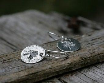 Tree of Life Earrings, Silver Circle Earrings, Silver Tree of Life Earrings, Circle Earrings, Silver Dangle Earrings