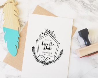 Save the Date Stamp, Wedding Stamp, Save the Dates, Stamp With Names and Date, Custom Save the Date Stamp, Hand Drawn, Style No. 61W