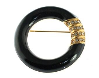 SALE--SAL Black Enamel Circle Brooch