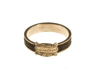 Victorian 10k Gold Mourning Hair Ring