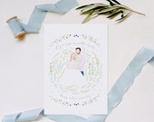 Baby Birth Announcement Cards Custom Handmade Illustration Family Portrait