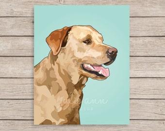 Golden Labrador Retriever Art Print, Yellow Lab Art, Labrador Art, Dog Art Print, Dog Wall Decor, Dog Wall Art, Golden Lab Wall Art,Labrador