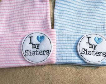 Newborn Beanie Hat. I Love my SISTERS! Choice of Hat Colors. Super Cute. Newborn Hospital Hat. Baby's 1s