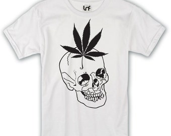 Cannabis Leaf Skull Mens T-Shirt
