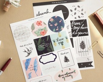 From Gift Sticker Pack 4 Sheets Decor Seal Wedding Birthday Message Label Tag Korean Stationery Cute Kawaii