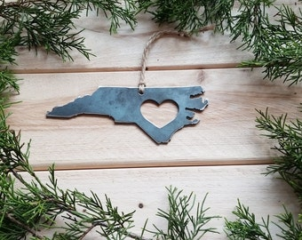 North Carolina Christmas Ornament NC State rustic raw steel Heart Christmas Tree decoration Host Gift Keepsake Wedding Favor personalized