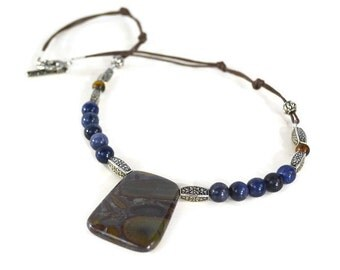 Tribal Necklace, Jewelry, Gemstone and Leather, Jasper, Aventurine, Blue and Brown, Gemstone Jewelry, Gemstone Necklace, Jewelry, Necklace