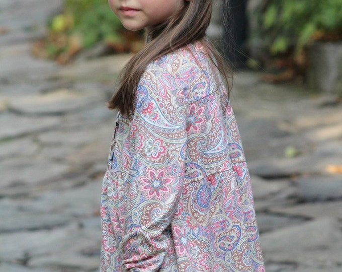 Girls dress .. Foral print dress ...Retro Dress ... Vintage style dress .. Dress Long Sleeve.. dress hippy chic style ..Toddler dress