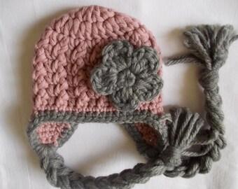 Crochet earflap hat Wool newborn hat Mauve baby hat Newborn girl hat Girl winter hat Crochet baby hat Baby girl outfit Newborn crochet hat