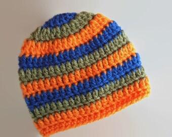 Newborn boy hat, striped baby boy hat, baby boy hat, newborn boy beanie, baby boy outfit, hospital hat boy, infant boy hat