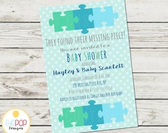 Missing Piece Invitation - Baby Shower - Boy - Adoption - Polka Dots - Puzzle Piece - Digital Printable
