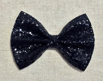 Premium Black Glitter Bow Tie Bow, Black Glitter Bow Tie Bow, Black Glitter Hair Bow
