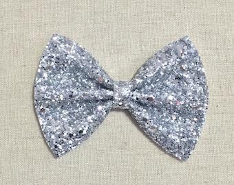 Premium Silver Glitter Bow Tie Bow, Silver Glitter Bow Tie Bow, Silver Glitter Hair Bow