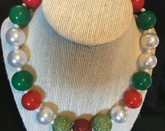 Holiday Bubblegum Necklace in Reds,Greens and Pearls