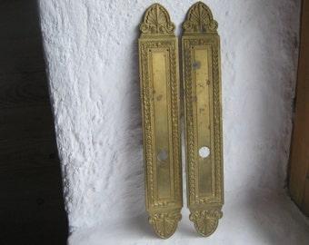 French Vintage Brass Door Plates.