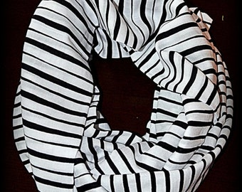 45% OFF Black and White Striped Infinity Scarf - Striped Scarf - Infinity Scarf - Black and White Scarf